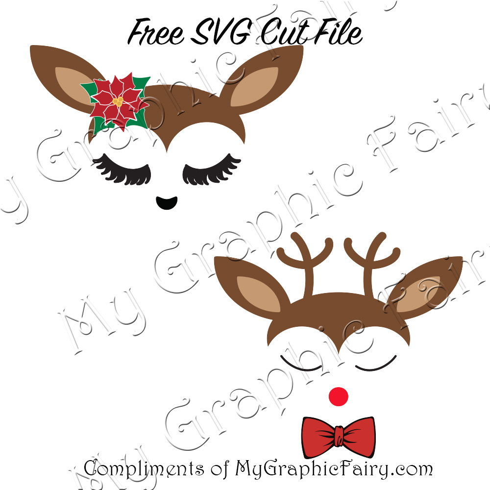 Cute Reindeer Faces Svg Files My Graphic Fairy